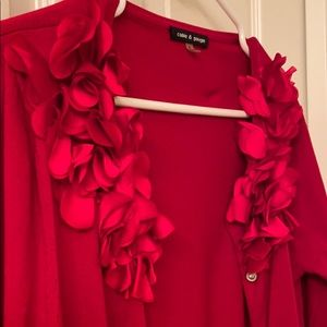 Cable and gauge small red cardigan